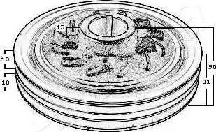 Ashika 122-05-500 - Τροχαλία ιμάντα, στροφαλοφόρος άξονας asparts.gr