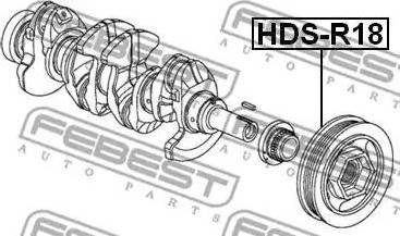 Febest HDS-R18 - Τροχαλία ιμάντα, στροφαλοφόρος άξονας asparts.gr