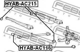 Febest HYAB-AC215 - Saylentblok, μοχλοί βραχίονα ανάρτησης τροχού asparts.gr